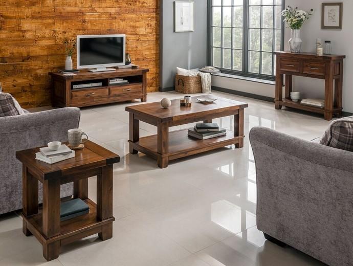 Set de mobila living din lemn de salcam, 4 piese Emerson Brown