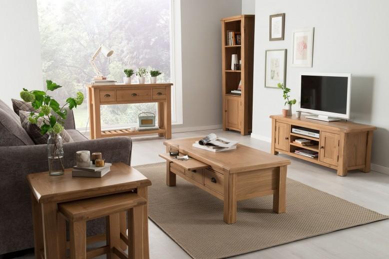 Set de mobila living din lemn de stejar si furnir, 5 piese Breeze Oak