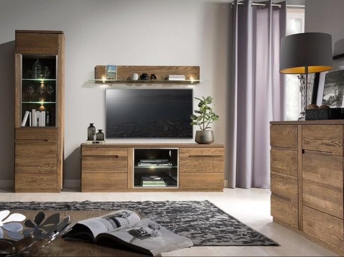 Set de mobila living din lemn si furnir, 4 piese Negro Oak