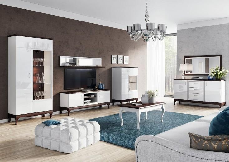 Set de mobila living din MDF si furnir, 7 piese Massimo 45 White / Mocha