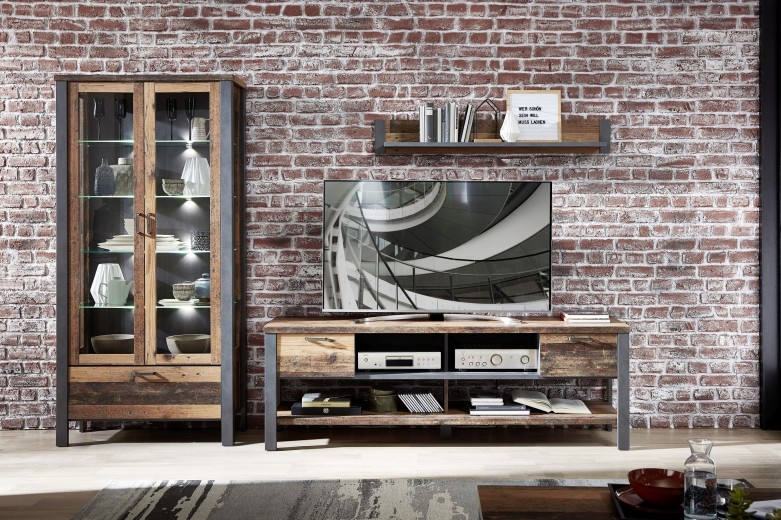 Set de mobila living din pal, 3 piese Chelsea I Natural / Grafit