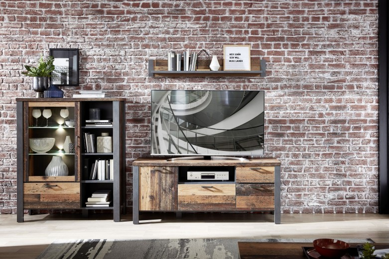 Set de mobila living din pal, 3 piese Chelsea III Natural / Grafit