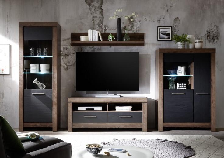 Set de mobila living din pal, 4 piese Blake II Stejar Negru / Stejar
