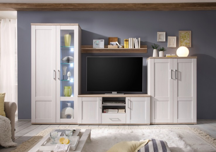 Set de mobila living din pal, 4 piese Romina Alb / Stejar San Remo