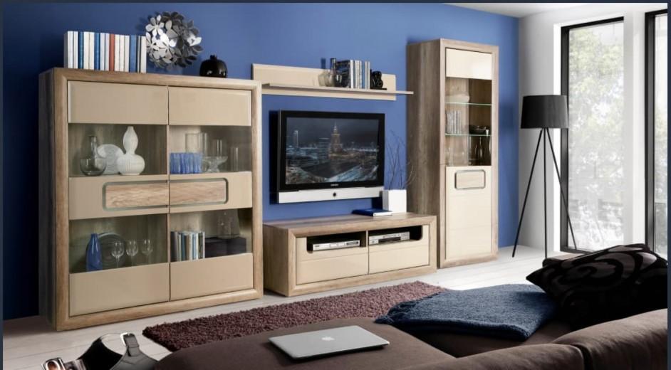 Set de mobila living din pal, 4 piese Tadita Stejar / Bej
