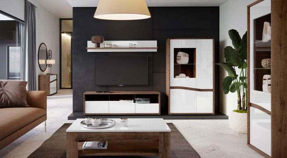 Set de mobila living din pal, 4 piese Wafi Stejar / Alb