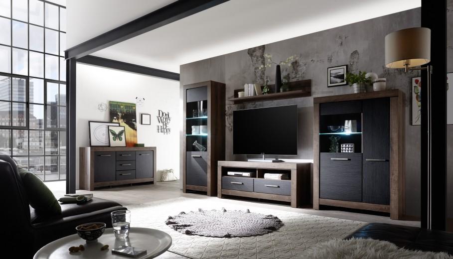 Set de mobila living din pal, 5 piese Blake Stejar Negru / Stejar
