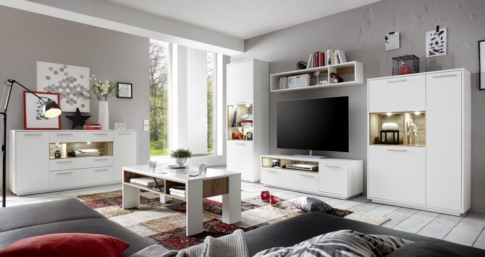 Set de mobila living din pal, 5 piese Millie Alb / Natur
