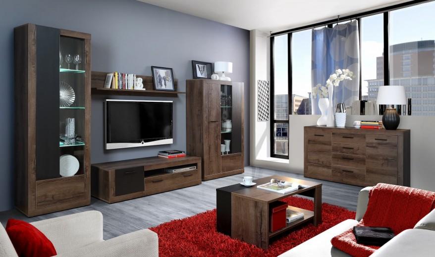 Set de mobila living din pal, 6 piese Tala Stejar Noble Oak / Negru