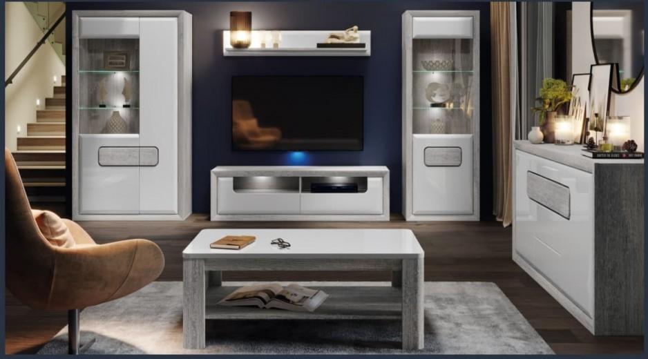 Set de mobila living din pal, 6 piese Torrin Stejar Ice Grey / Alb