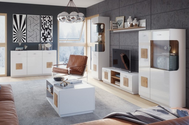Set de mobila living din pal, 6 piese Wood Alb / Stejar Wotan