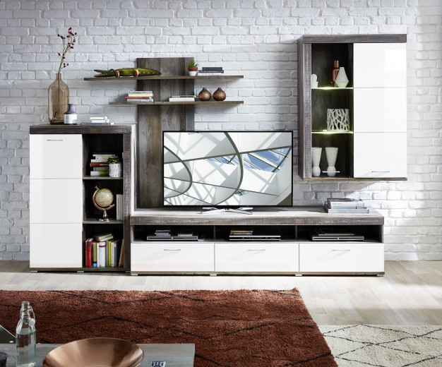 Set de mobila living din pal si MDF, 4 piese Krone I Alb / Natur