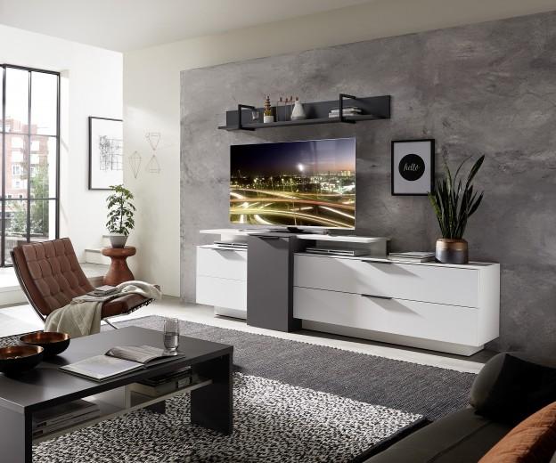 Set de mobila living din pal si MDF, 4 piese Madeline Alb / Grafit