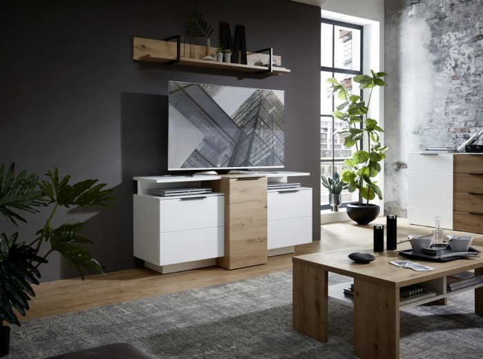 Set de mobila living din pal si MDF, 5 piese Madeline Stejar / Alb