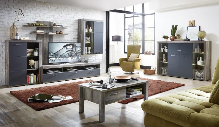 Set de mobila living din pal si MDF, 6 piese Krone I Grafit / Natur