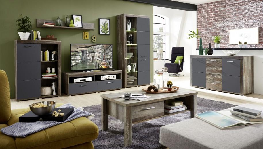 Set de mobila living din pal si MDF, 6 piese Krone II Grafit / Natur