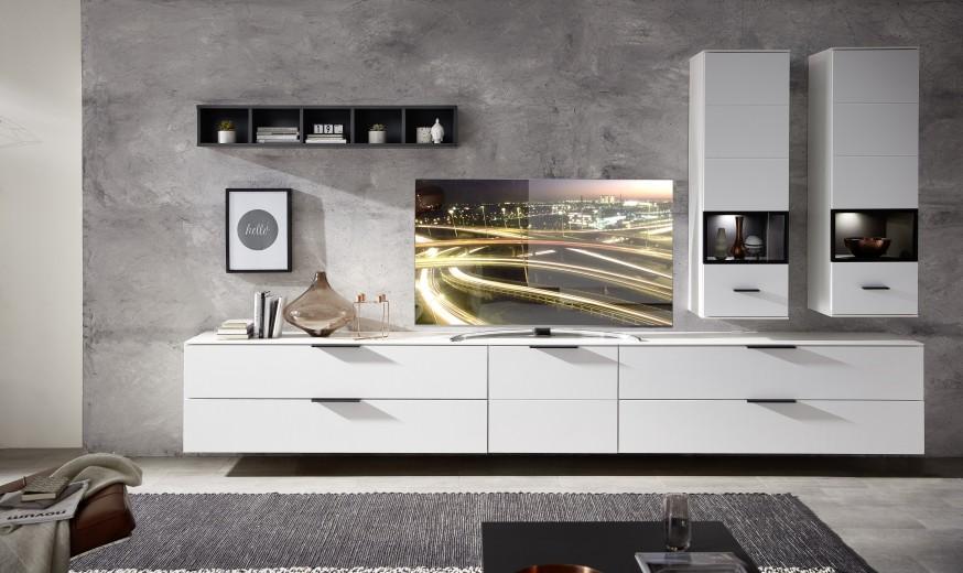 Set de mobila living din pal si MDF, 6 piese Madeline II Alb / Grafit