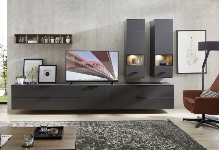 Set de mobila living din pal si MDF, 6 piese Madeline II Grafit