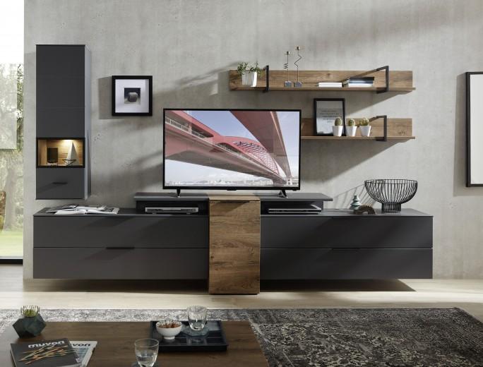 Set de mobila living din pal si MDF, 6 piese Madeline Large Havel Oak Cognac / Grafit