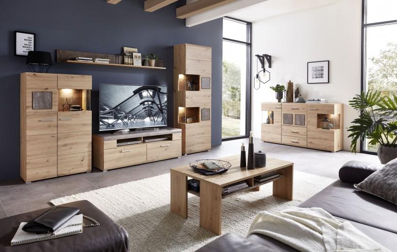 Set de mobila living din pal si MDF, 6 piese Skylar Stejar