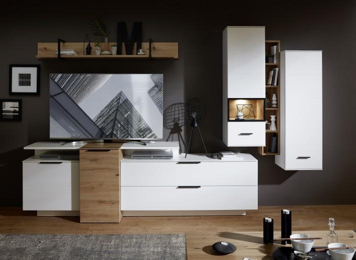 Set de mobila living din pal si MDF, 7 piese Madeline Alb / Stejar