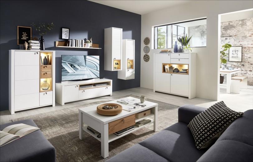 Set de mobila living din pal si MDF, 7 piese Selina Alb / Natur