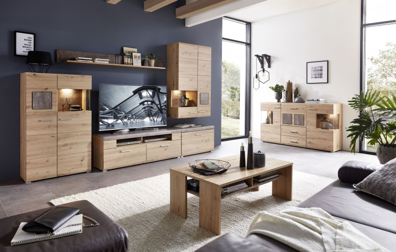 Set de mobila living din pal si MDF, 7 piese Skylar Stejar