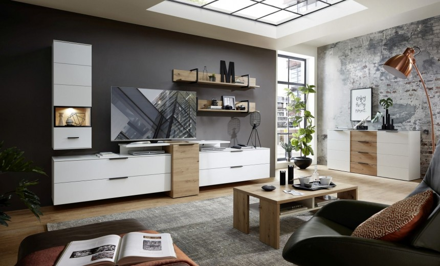 Set de mobila living din pal si MDF, 8 piese Madeline Alb / Stejar