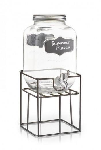 Set dispenser bauturi cu suport metalic Summer Punch, 3,8 L, L16,5xl16,5xH19 cm