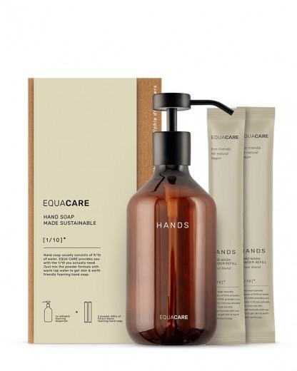 Set dispenser pentru sapun spuma cu 2 rezerve, din PET reciclat si ingrediente naturale, Care Hands, 350 ml