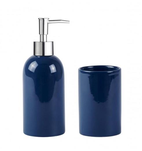Set dozator sapun si pahar periuta din ceramica, Kj-Bleumarin