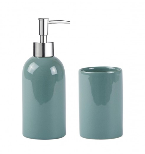 Set dozator sapun si pahar periuta din ceramica, Kj-Verde