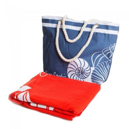 Set geanta si prosop de plaja Tom Pierre Cardin Multicolor, 100 x 180 cm