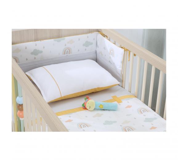 Set lenjerie pentru patut bebe 5 piese Smile Baby, 60 x 120 cm