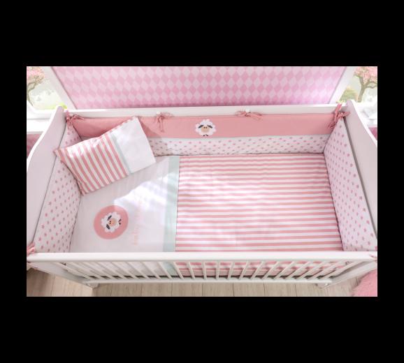 Set lenjerie pentru patut bebe 6 piese Lovely, 75 x 115 cm