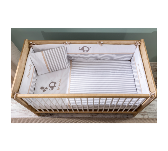 Set lenjerie pentru patut bebe 6 piese Sleepy, 80 x 130 cm