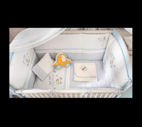 Set lenjerie pentru patut bebe 9 piese Baby Boy, 80 x 130 cm