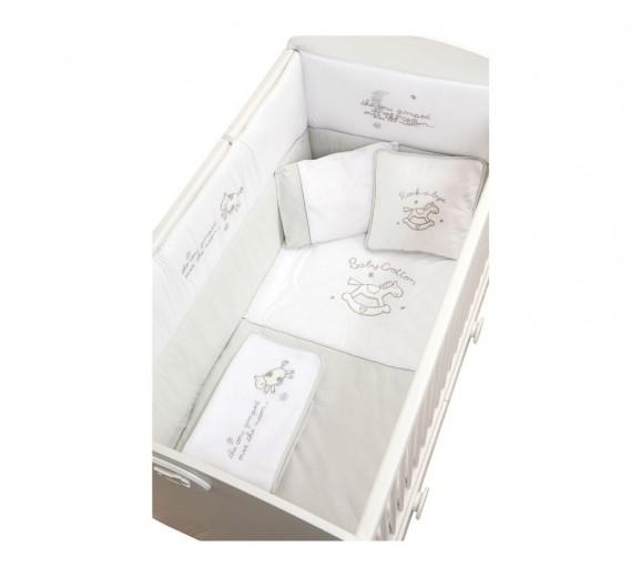 Set lenjerie pentru patut bebe 9 piese Baby Cotton, 80 x 130 cm