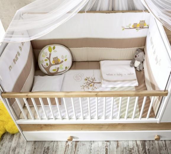 Set lenjerie pentru patut bebe 9 piese Natura Baby, 75 x 115 cm
