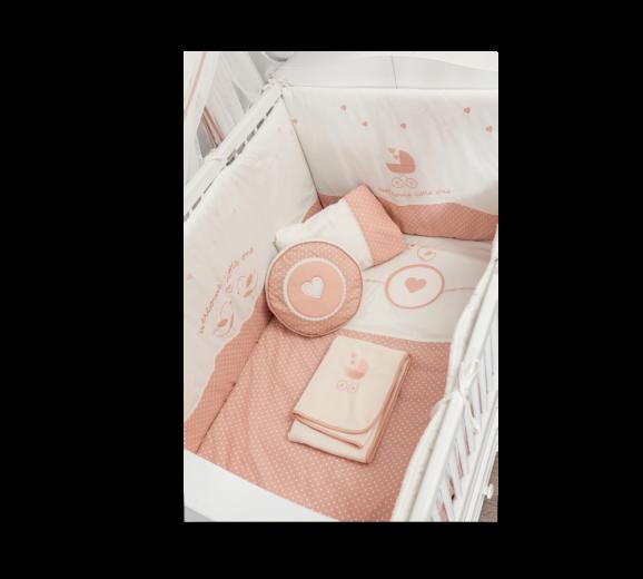 Set lenjerie pentru patut bebe 9 piese Romantic Baby, 75 x 115 cm