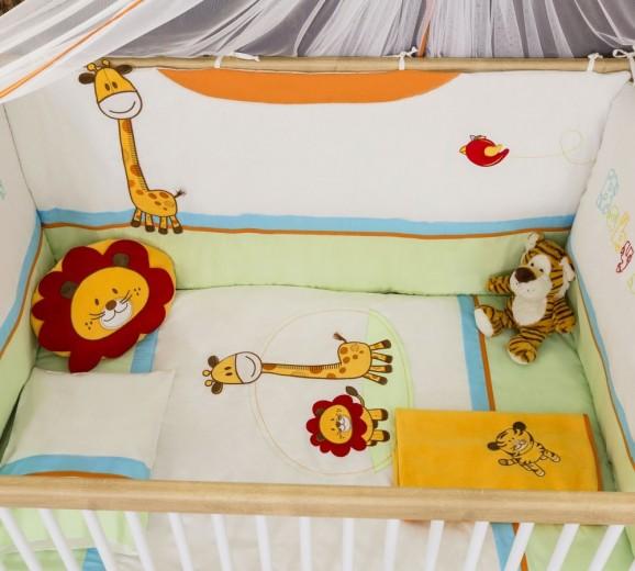 Set lenjerie pentru patut bebe 9 piese Safari Natura, 80 x 130 cm
