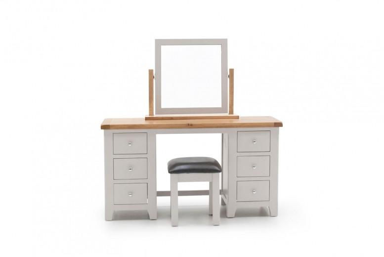 Masa de toaleta cu taburet, din lemn de pin, stejar si MDF Clemence Grey / Oak, L140xl48xH75 cm