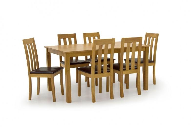 Set masa din lemn de cauciuc + 6 scaune cu sezut tapitat cu piele ecologica Annecy Oak / Brown, L150xl90xH75 cm