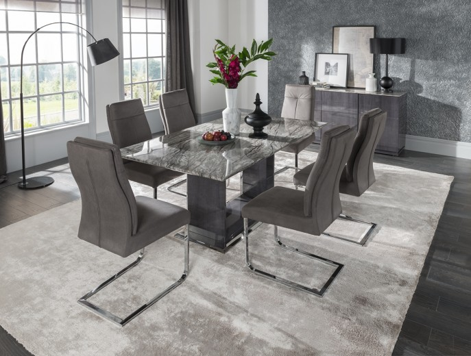 Set masa din marmura si MDF Donatella Grey + 6 scaune tapitate cu stofa, cu picioare metalice Donatella Grey, L160xl100xH76 cm