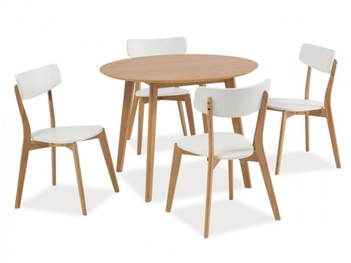 Set masa din MDF, furnir si lemn Mosso II Stejar + 4 scaune din lemn si MDF Mosso II Alb / Stejar, Ø100xH75 cm