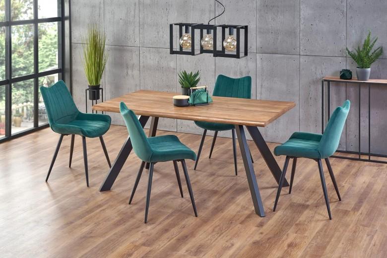 Set masa din MDF, furnir si metal Esposito Nuc / Negru + 4 scaune tapitate cu stofa K388 Velvet Verde Inchis / Negru, L160xl90xH76 cm