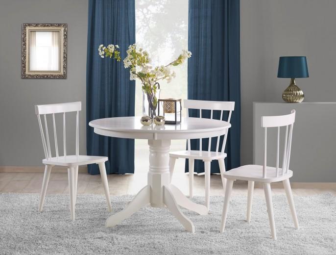 Set masa din MDF si lemn Gloster Alb + 4 scaune din lemn de cauciuc Barkley Alb, Ø106xH75 cm