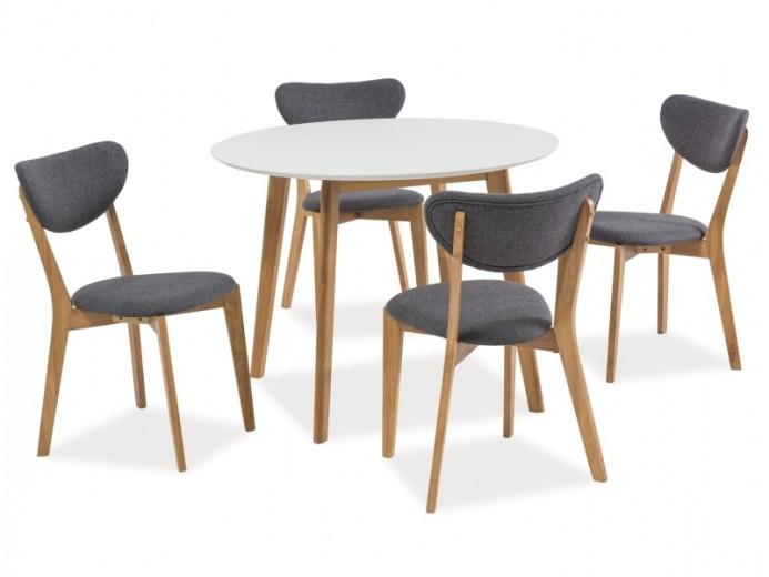 Set masa din MDF si lemn Mosso II Alb / Stejar + 4 scaune tapitate cu stofa Andre Gri / Stejar, Ø100xH75 cm