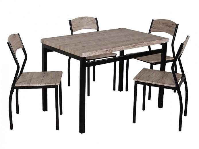 Set masa din MDF si metal + 4 scaune Astro Stejar / Negru, L110xl70xH76 cm