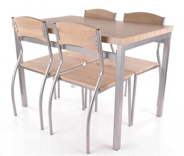 Set masa din MDF si metal + 4 scaune Astro Stejar Sonoma / Crom, L110xl70xH76 cm